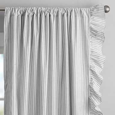 "Ruffle Stripe Organic Curtain Set, 84"", Charcoal Black - Pottery Barn Teen"