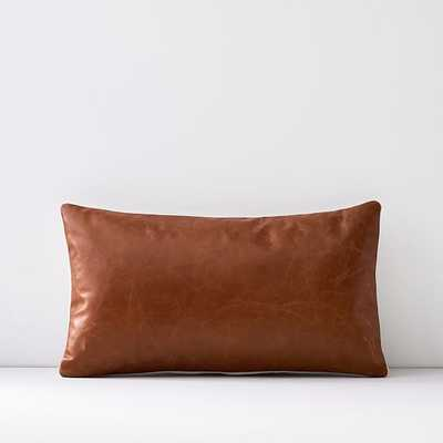 "Leather Pillow Cover, 12""x21"", Saddle - West Elm"