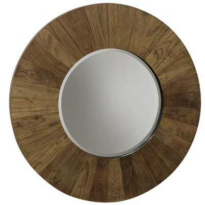 Style Craft Veneer Natural Wood - Natural Tone Wood Frame Round Mirror With Clear Beveled Glass - Wayfair