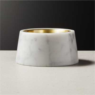 Riley White Marble Pillar Candle Holder - CB2