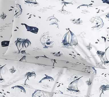 Surf Vibes Sheet Set, Standard Pillow Case, Navy - Pottery Barn Kids