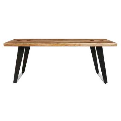 Home Decorators Collection Cosbyrne Rectangular Dark Natural Finish Wood Coffee Table with Metal Base (48 in. W x 19 in. H) - Home Depot