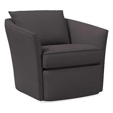 Duffield Swivel Chair, Poly, Yarn Dyed Linen Weave, Steel Gray - West Elm