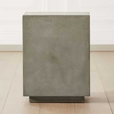 Matter Grey Cement Square Side Table - CB2
