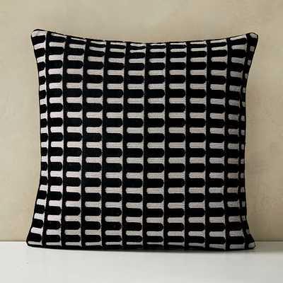 "Cut Velvet Archways Pillow Cover, Set of 2, 24""x24"", Black - West Elm"