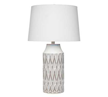 Selma Ceramic Table Lamp, White Patterned Ceramic - Pottery Barn
