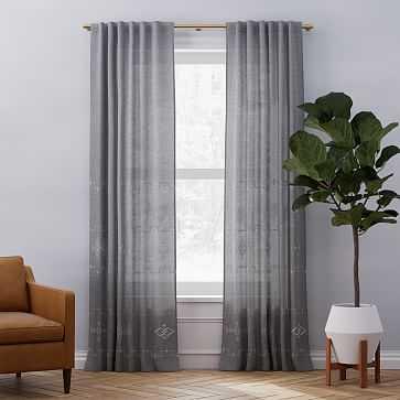 "Belgian Flax Linen Ladder Stripe Curtain, Slate Melange + Stone, 48""x84"" - West Elm"