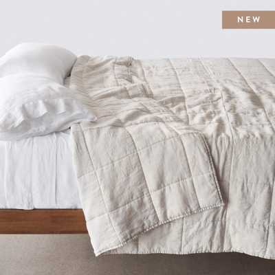 Stonewashed Linen Quilt - Sand Stripe - King/Cali King By The Citizenry - The Citizenry
