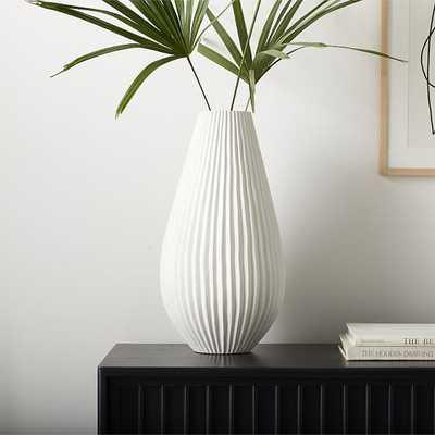 Sanibel Textured Vase, White, Extra Large Tapered - West Elm