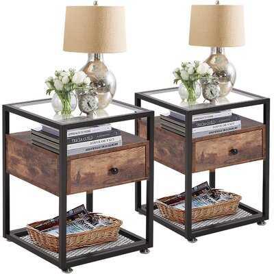 Wortham Glass Top End Table Set with Storage (SET OF 2) - Wayfair