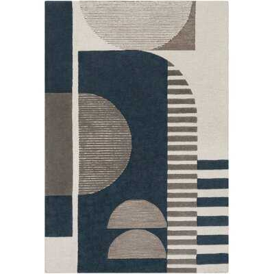 Abra Geometric Handmade Tufted Wool Navy/Taupe Area Rug - Wayfair