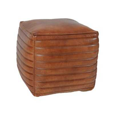 "Andrade 15.75"" Genuine Leather Square Pouf Ottoman - Wayfair"