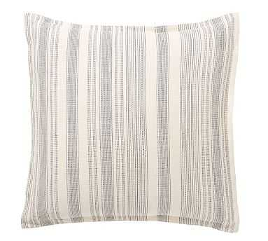 Hawthorn Stripe Cotton Sham, Euro, Charcoal - Pottery Barn