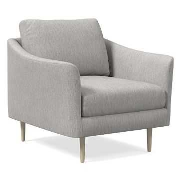 Sloane Chair, Performance Coastal Linen, Platinum, Light Bronze - West Elm