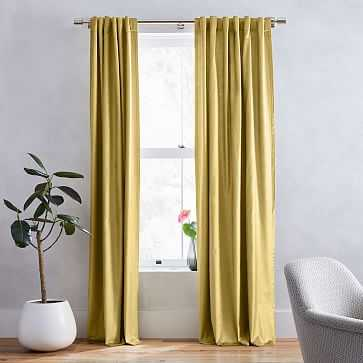 "Luster Velvet Curtain, Set of 2, Wasabi 48""x96"" - West Elm"