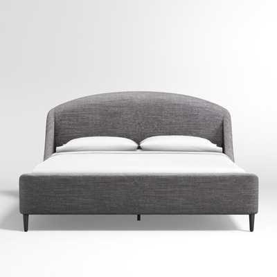 Lafayette Charcoal Upholstered King Bed - Crate and Barrel