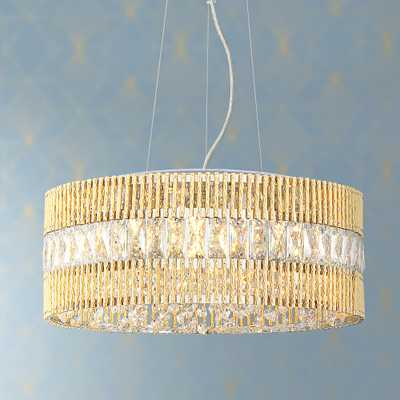 "Jonna 16""W French Gold and Crystal Drum LED Pendant Light - Style # 78R42 - Lamps Plus"