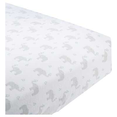 Grau Elephant and Chickies Cotton Fitted Crib Sheet - Birch Lane