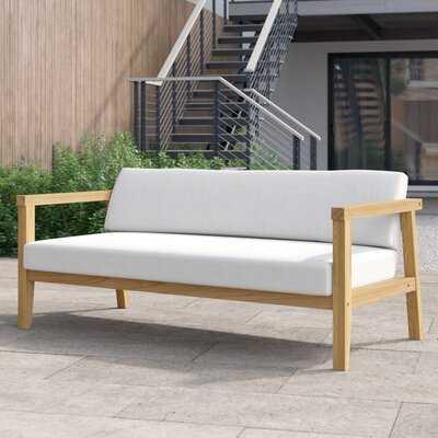 Annalese Outdoor Teak Loveseat with Cushions - Wayfair