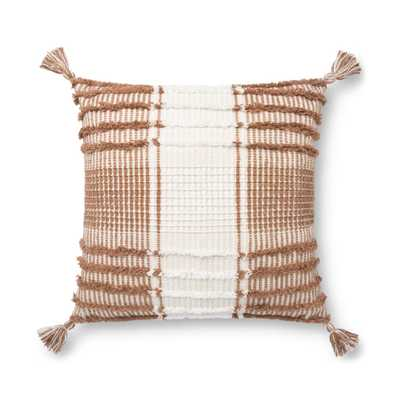 "ED Ellen DeGeneres Crafted by Loloi PILLOWS P4121 TERRACOTTA / WHITE 18"" x 18"" , poly-filled - Loma Threads"