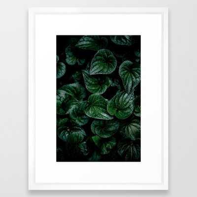 Dark Leaves 8 Framed Art Print by Mareike BaPhmer - Vector White - MEDIUM (Gallery)-20x26 - Society6