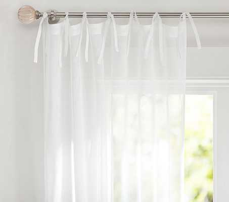 Linen Sheer Curtain Panel, 84 Inches, White, Set of 2 - Pottery Barn Kids