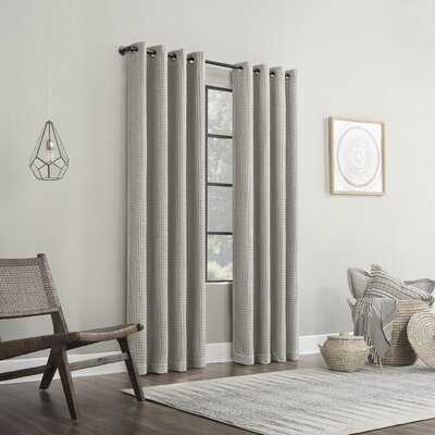 Senora Belgian Waffle Cotton Solid Color Max Blackout Thermal Grommet Single Curtain Panel - AllModern