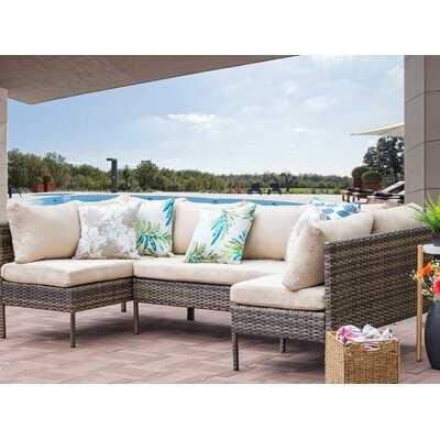 Ontonagon 3 Piece Rattan Sectional Seating Group with Cushions - Wayfair