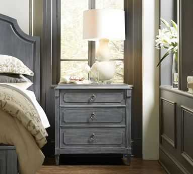 Jenny 3-Drawer Nightstand, Gray - Pottery Barn