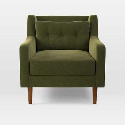 Crosby Armchair, Distressed Velvet, Olive - West Elm