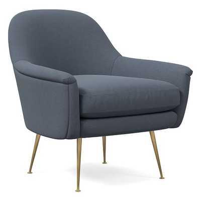 Phoebe Midcentury Chair, Performance Velvet, Corn Flower, Brass - West Elm
