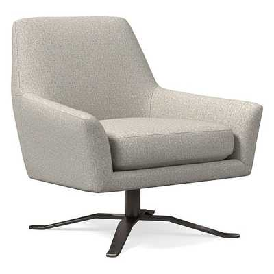 Lucas Swivel Base Chair, Poly, Twill, Stone, Burnished Bronze - West Elm