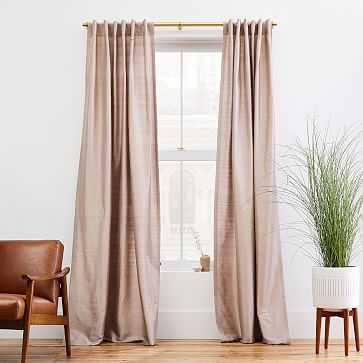 "Dupioni Silk Curtain, 48""x96"", Dusty Blush-Unlined - West Elm"