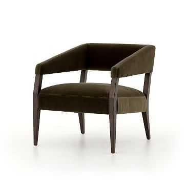 Gary Club Chair, Cotton, Oak, Olive Green - West Elm