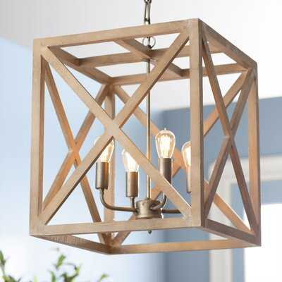 William 4 - Light Lantern Square / Rectangle Chandelier with Wood - Wayfair