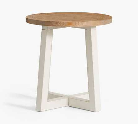 St. Augustine Round End Table, Beach White & Creek Natural - Pottery Barn