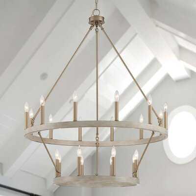 Alfret 20 - Light Candle Style Wagon Wheel Chandelier - Wayfair