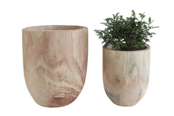 Paulownia Rounded Wood Pots, Set of 2 - Haldin