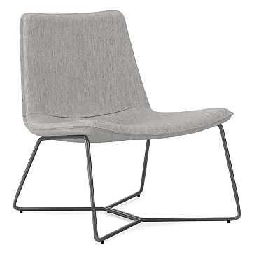 Slope Lounge Chair, Performance Coastal Linen, Platinum, Charcoal - West Elm
