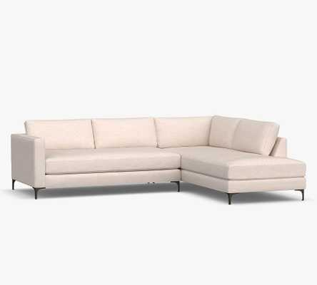 Jake Upholstered Left Sofa Return Bumper Sectional with Bronze Legs, Polyester Wrapped Cushions, Performance Boucle Oatmeal - Pottery Barn