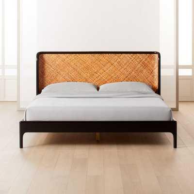 Miri Black and Rattan King Bed - CB2