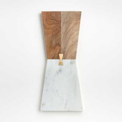 Salvia Narrow Nesting Marble and Wood Cheese Board - Crate and Barrel