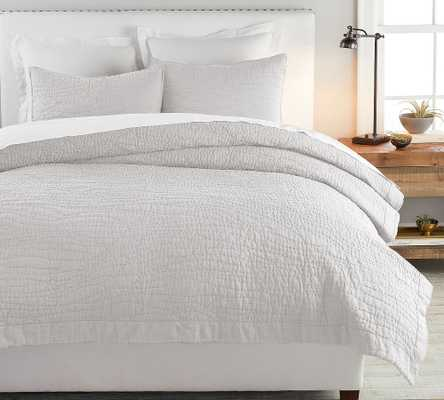 Soft Gray Belgian Flax Linen Hand Stitched Quilt, King/Cal. King - Pottery Barn
