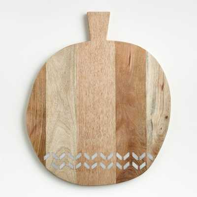 Isadore Round Marble Inlay Wood Serving Board - Crate and Barrel