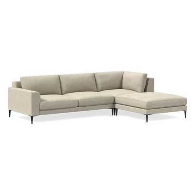 "Harper Sectional Set 15: LA 75"" Sofa, Corner, Ottoman, Poly, Distressed Velvet, Light Taupe, Antique Bronze - West Elm"