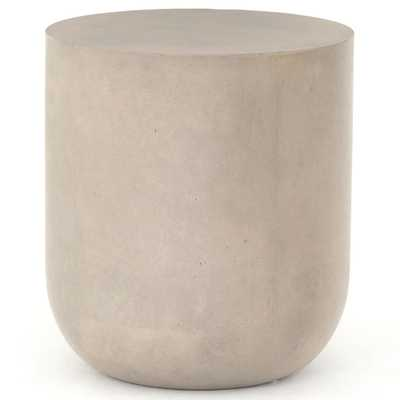 Ivann Modern Classic Grey Concrete Round Drum Outdoor End Table - Kathy Kuo Home