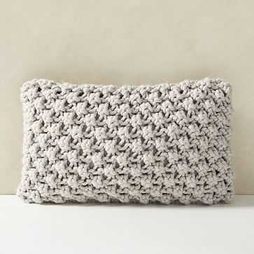 "Bobble Knit Pillow Cover, 12""x21"", Stone Gray - West Elm"