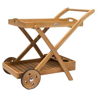 Terry Coastal Beach Brown Teak Wood Outdoor Tray Bar Cart - Kathy Kuo Home