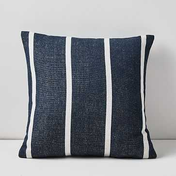 "SET OF TWO Outdoor Simple Stripe Pillow Pair, 20""x20"", Midnight - West Elm"