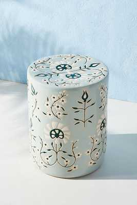 Mabel Ceramic Stool By Anthropologie in Blue - Anthropologie